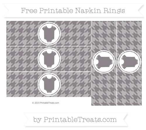 Free Taupe Grey Houndstooth Pattern Baby Onesie Napkin Rings