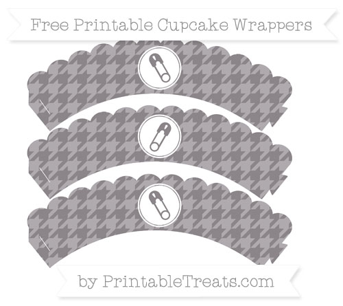 Free Taupe Grey Houndstooth Pattern Diaper Pin Scalloped Cupcake Wrappers