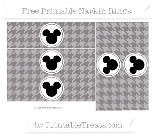 Free Taupe Grey Herringbone Pattern Mickey Mouse Napkin Rings