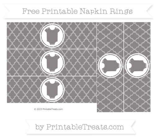 Free Taupe Grey Moroccan Tile Baby Onesie Napkin Rings
