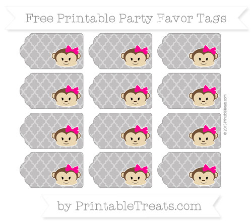 Free Taupe Grey Moroccan Tile Girl Monkey Party Favor Tags
