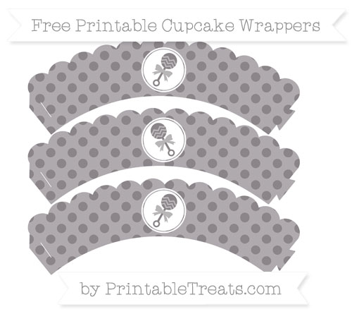 Free Taupe Grey Polka Dot Baby Rattle Scalloped Cupcake Wrappers