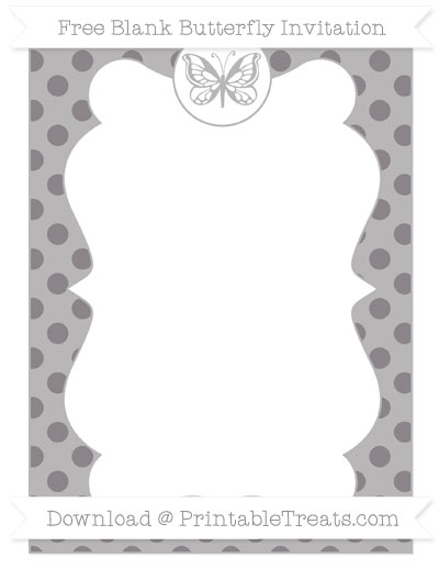 Free Taupe Grey Polka Dot Blank Butterfly Invitation