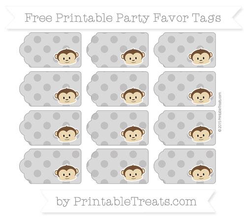 Free Taupe Grey Polka Dot Boy Monkey Party Favor Tags