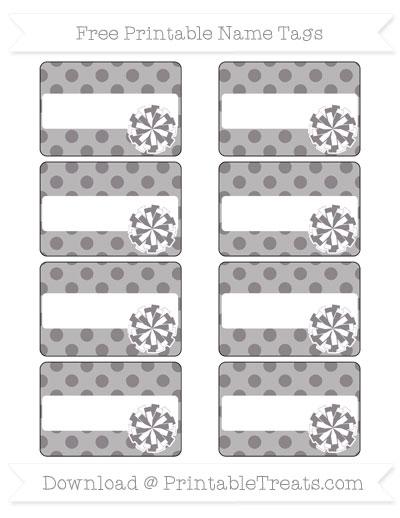 Free Taupe Grey Polka Dot Cheer Pom Pom Tags