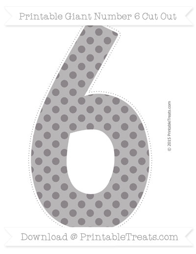 Free Taupe Grey Polka Dot Giant Number 6 Cut Out