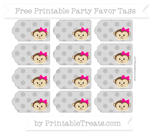 Free Taupe Grey Polka Dot Girl Monkey Party Favor Tags