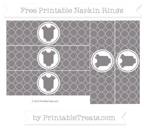 Free Taupe Grey Quatrefoil Pattern Baby Onesie Napkin Rings