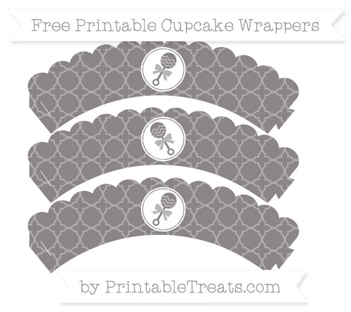 Free Taupe Grey Quatrefoil Pattern Baby Rattle Scalloped Cupcake Wrappers