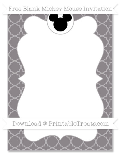 Free Taupe Grey Quatrefoil Pattern Blank Mickey Mouse Invitation