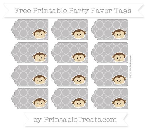 Free Taupe Grey Quatrefoil Pattern Boy Monkey Party Favor Tags