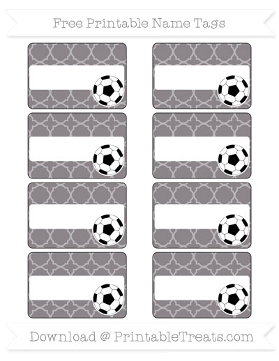Free Taupe Grey Quatrefoil Pattern Soccer Name Tags