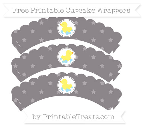 Free Taupe Grey Star Pattern Baby Duck Scalloped Cupcake Wrappers