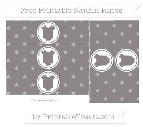 Free Taupe Grey Star Pattern Baby Onesie Napkin Rings