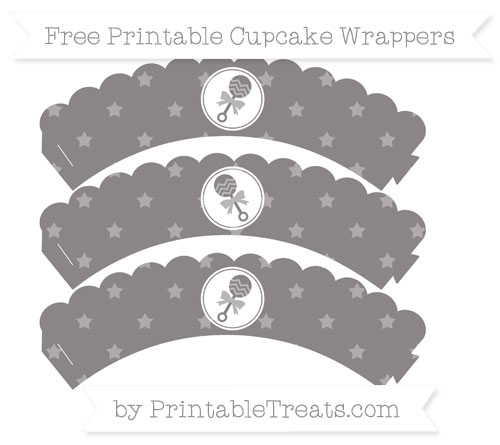 Free Taupe Grey Star Pattern Baby Rattle Scalloped Cupcake Wrappers