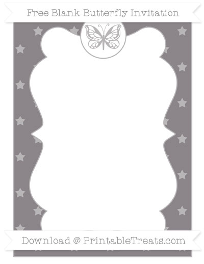 Free Taupe Grey Star Pattern Blank Butterfly Invitation