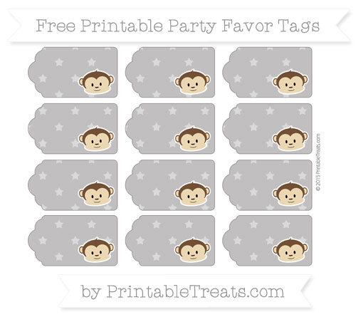 Free Taupe Grey Star Pattern Boy Monkey Party Favor Tags