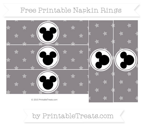 Free Taupe Grey Star Pattern Mickey Mouse Napkin Rings
