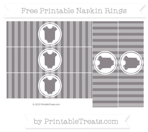 Free Taupe Grey Striped Baby Onesie Napkin Rings