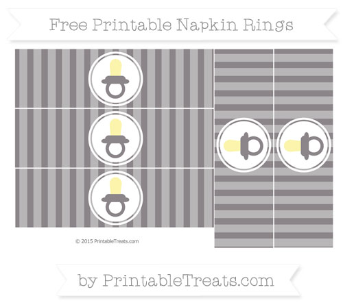 Free Taupe Grey Striped Baby Pacifier Napkin Rings