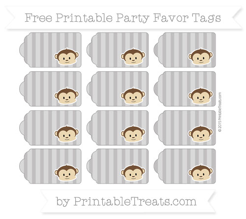 Free Taupe Grey Striped Boy Monkey Party Favor Tags
