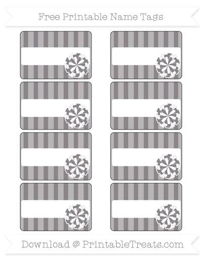 Free Taupe Grey Striped Cheer Pom Pom Tags