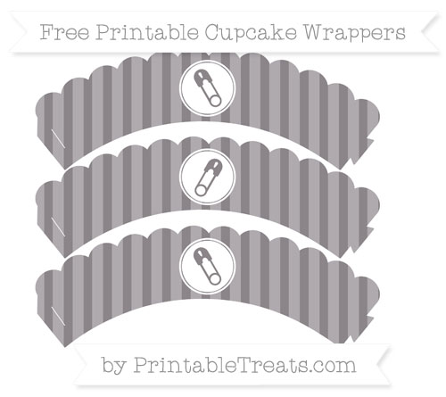 Free Taupe Grey Striped Diaper Pin Scalloped Cupcake Wrappers