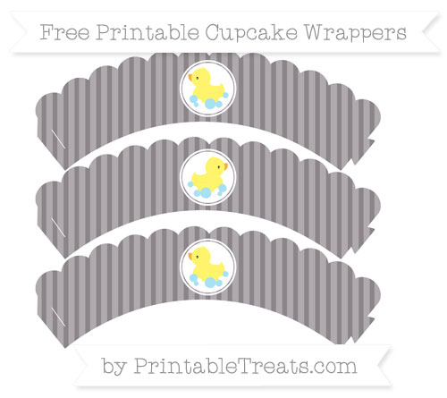 Free Taupe Grey Thin Striped Pattern Baby Duck Scalloped Cupcake Wrappers