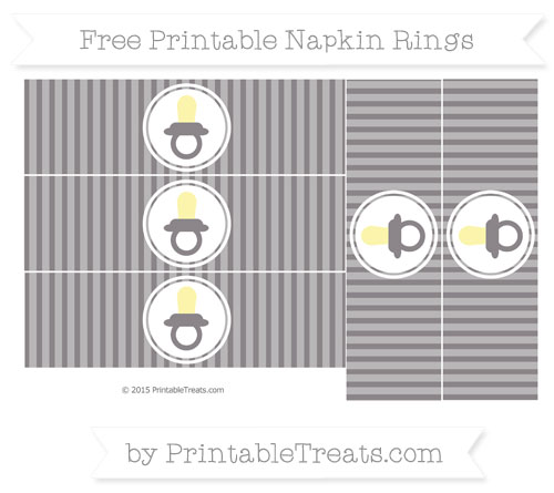 Free Taupe Grey Thin Striped Pattern Baby Pacifier Napkin Rings