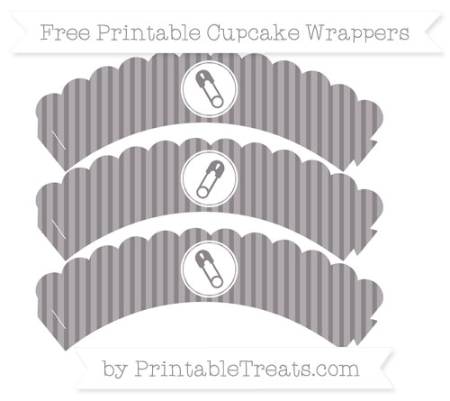 Free Taupe Grey Thin Striped Pattern Diaper Pin Scalloped Cupcake Wrappers