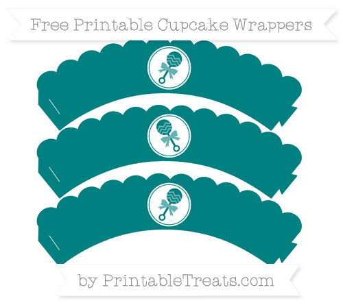 Free Teal Baby Rattle Scalloped Cupcake Wrappers