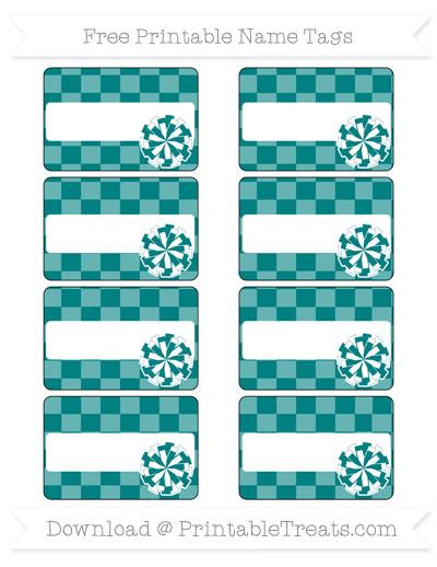 Free Teal Checker Pattern Cheer Pom Pom Tags