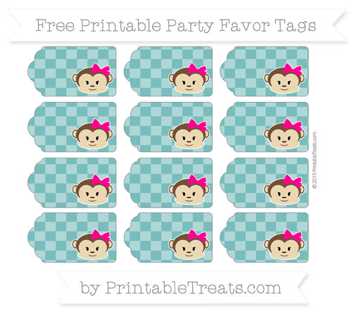 Free Teal Checker Pattern Girl Monkey Party Favor Tags