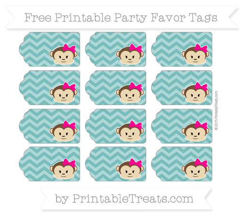 Free Teal Chevron Girl Monkey Party Favor Tags