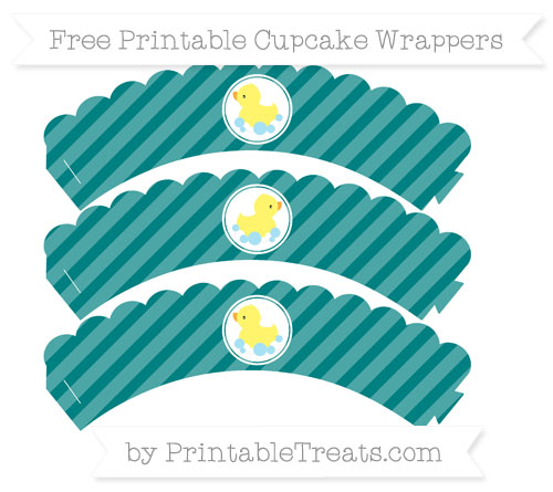 Free Teal Diagonal Striped Baby Duck Scalloped Cupcake Wrappers