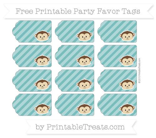 Free Teal Diagonal Striped Boy Monkey Party Favor Tags