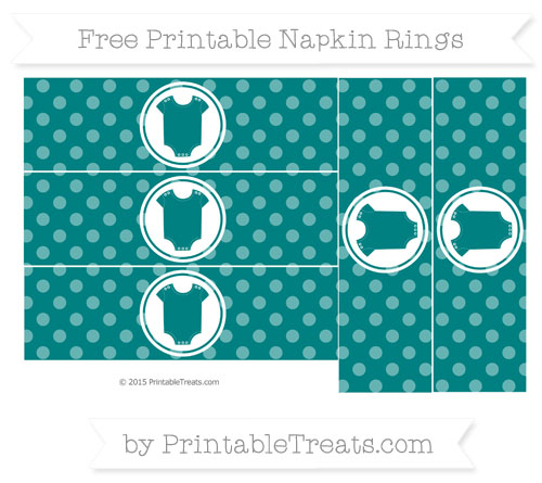 Free Teal Dotted Pattern Baby Onesie Napkin Rings