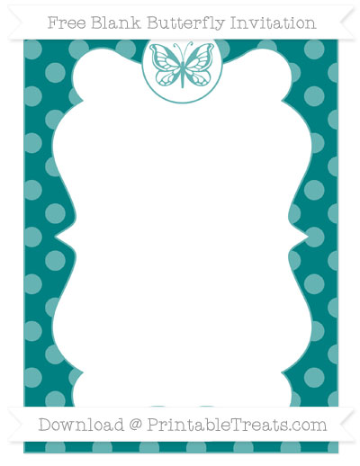 Free Teal Dotted Pattern Blank Butterfly Invitation