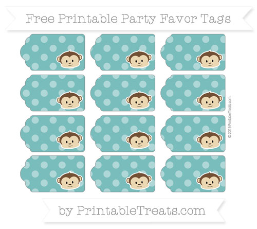 Free Teal Dotted Pattern Boy Monkey Party Favor Tags