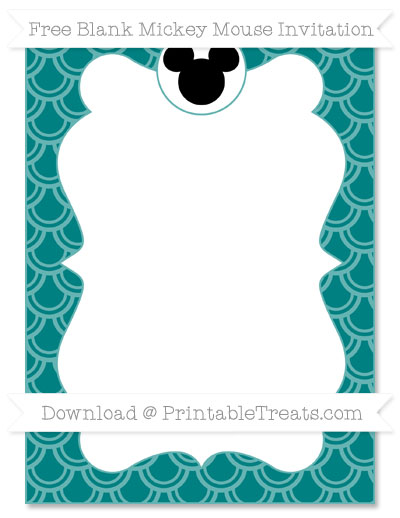 Free Teal Fish Scale Pattern Blank Mickey Mouse Invitation