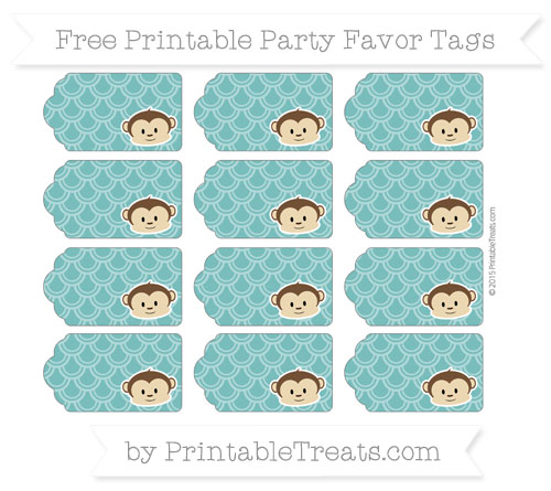 Free Teal Fish Scale Pattern Boy Monkey Party Favor Tags