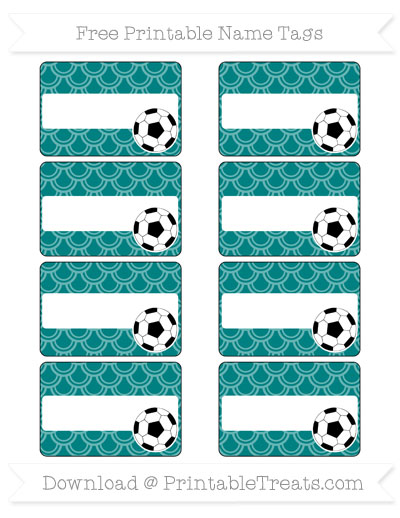 Free Teal Fish Scale Pattern Soccer Name Tags