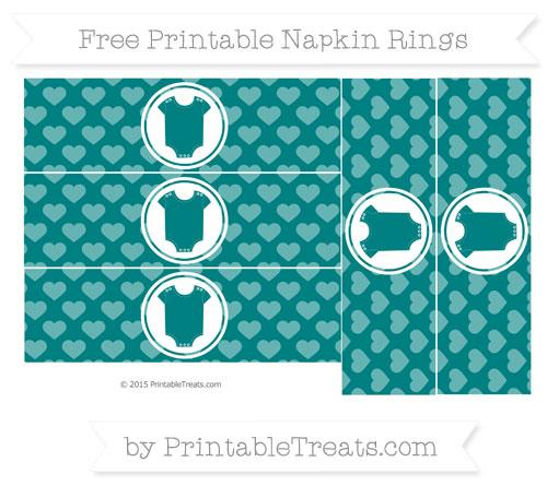 Free Teal Heart Pattern Baby Onesie Napkin Rings