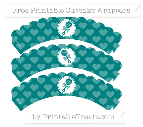 Free Teal Heart Pattern Baby Rattle Scalloped Cupcake Wrappers