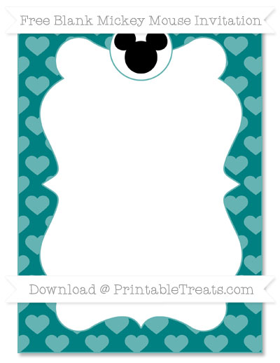 Free Teal Heart Pattern Blank Mickey Mouse Invitation