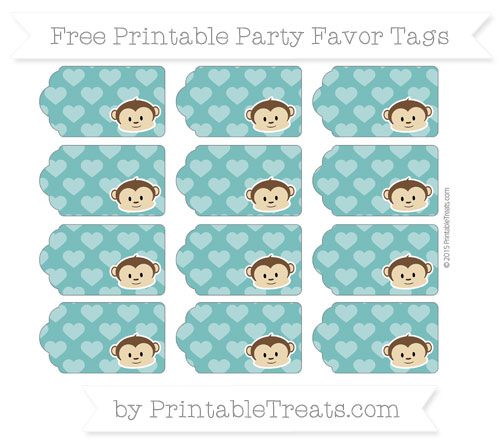 Free Teal Heart Pattern Boy Monkey Party Favor Tags