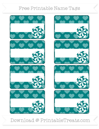Free Teal Heart Pattern Cheer Pom Pom Tags