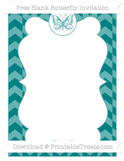 Free Teal Herringbone Pattern Blank Butterfly Invitation