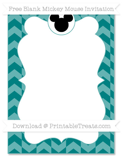 Free Teal Herringbone Pattern Blank Mickey Mouse Invitation