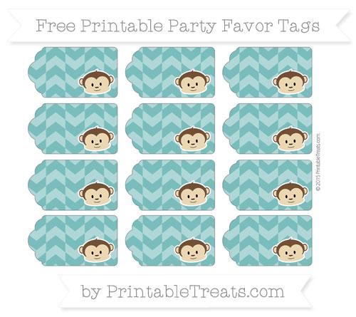 Free Teal Herringbone Pattern Boy Monkey Party Favor Tags